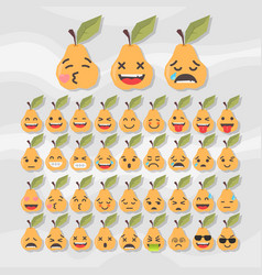 set of cute fruit smiley pear emoticons vector image
