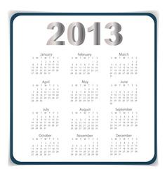 Simple 2013 year calendar eps10 vector image