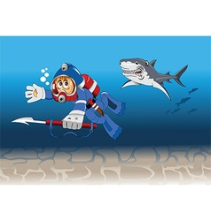 underwater diver chase cartoon vector image vector image