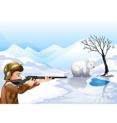 A boy shooting the bear vector image vector image