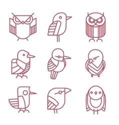 Bird linear icons set vector image vector image
