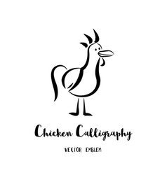 chicken calligraphy emblem vector image vector image