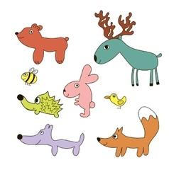 Childish cartoon forest wild animals vector image vector image