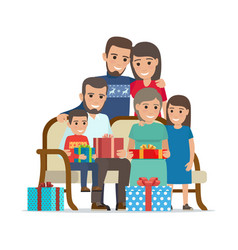 family gathered together holding present boxes vector image vector image