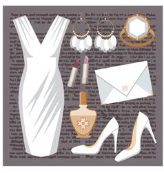 Fashion set with a dress vector image