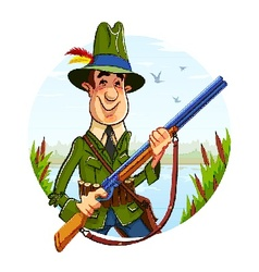Hunter man with rifle on vector image vector image