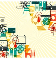 Industry background with power icons in flat vector image vector image