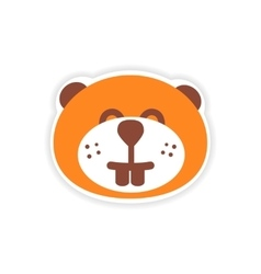 Paper sticker canadian beaver on white background vector