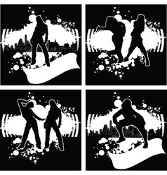 Set Of One Color Hip-Hop Graffiti vector image vector image