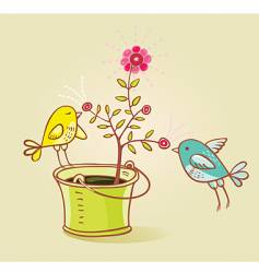 two birds and flower aroma vector image vector image