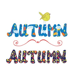 Autumn label for sale or card with floral pattern vector image vector image
