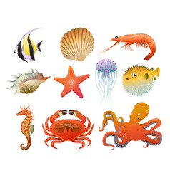 cartoon sea fauna elements set vector image vector image