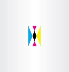 cmyk printing letter x logo icon vector image