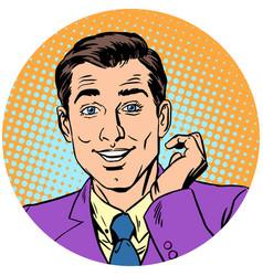 cute handsome man round avatar icon symbol vector image vector image