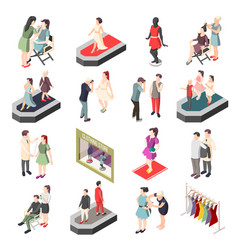 fashion industry isometric icons vector image