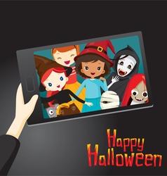 Halloween Ghosts and Children Selfie vector image vector image