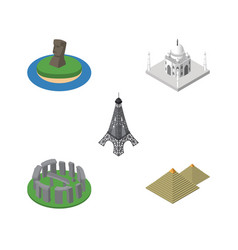 isometric attraction set of india mosque england vector image