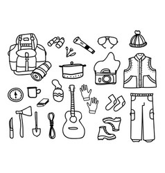 set of camping elements with touristic accessories vector image vector image