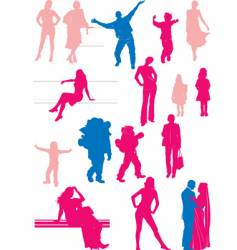 sixteen people silhouettes vector image