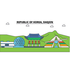 south korea daejon outline city skyline linear vector image vector image