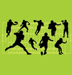 american football silhouettes vector image