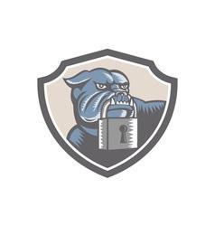 Bulldog Dog Mongrel Padlock Shield vector image vector image