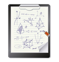 Clipboard with mathematics sketches vector image vector image