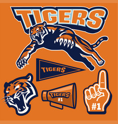 crouching tiger in sport mascot set vector image vector image
