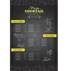 Drawing vertical cocktail menu design vector image