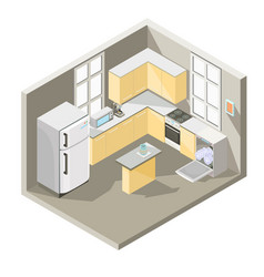 isometric design of a kitchen vector image