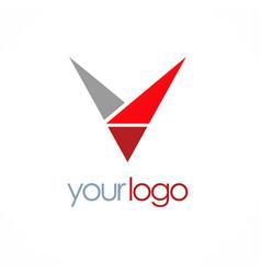 triangle letter v logo vector image vector image
