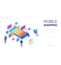 3d isometric character buying online vector image