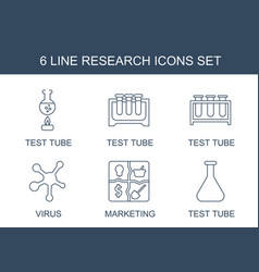 6 research icons vector