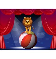 A lion above a hot air balloon vector