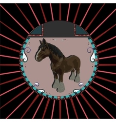 Abstract Brown horse in circle vector image