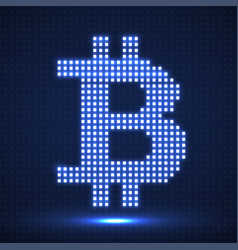 abstract neon sign bitcoin from pixels vector image