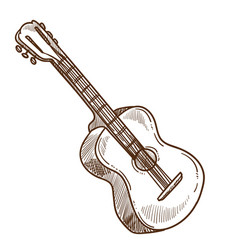 acoustic guitar musical instrument isolated sketch vector image
