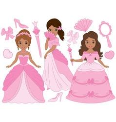 African american princesses set vector