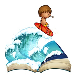 An open book with a boy surfing vector image