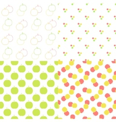 Apple seamless patterns set in modern clean and vector image