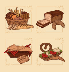 bakery hand drawn compositions vector image