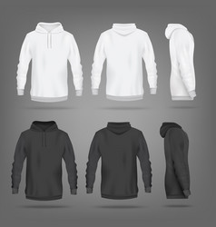 Black and white hoodie mockup set - isolated sport vector