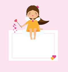 Blank card with cute cupid girl fairy design vector