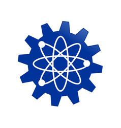 Blue gear cog science engineering atom symbol vector