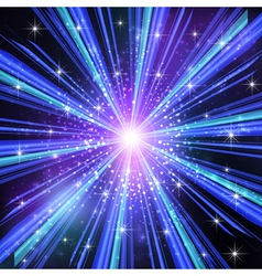 Blue Light rays with stars vector image