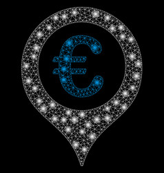 Bright mesh 2d euro map marker with flare spots vector