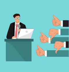 Businessmans feedback man vector