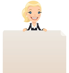 Businesswoman looking at blank poster on top vector