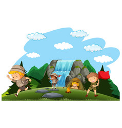Camping kids camping in nature vector