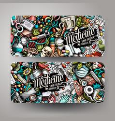 cartoon cute doodles medicine horizontal banners vector image